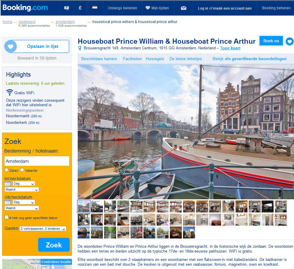 bed and breakfast amsterdam woonboot prince william